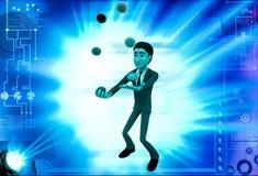 3d man juggle colourful ball illustration Stock Photos