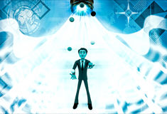 3d man juggle colourful balls illustration Stock Images