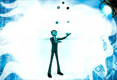 3d man juggle colourful balls illustration Stock Photos