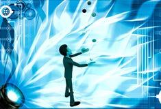 3d man juggle colourful balls illustration Royalty Free Stock Photo