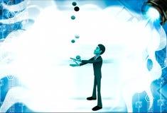 3d man juggle colourful balls illustration Royalty Free Stock Photography