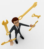 3d man juggling with golden wrenches concept Stock Images