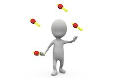 3d man juggling skittle concept Royalty Free Stock Photos