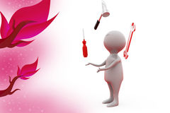 3d man juggling tool illustration Stock Images