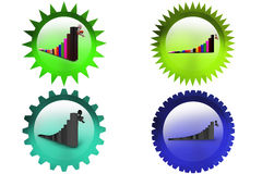 3d man jump from graph icon Royalty Free Stock Photos