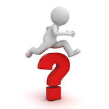 3d man jump over the big red question mark or problem concept over white background with shadow Royalty Free Stock Image