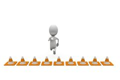 3d man jump over traffic cones concept Royalty Free Stock Photo