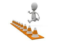 3d man jump over traffic cones concept Stock Photos