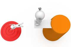 3d man jump on target concept Royalty Free Stock Photo
