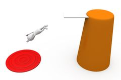 3d man jump to target concept Stock Image