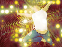 Man jump on dotted background. 3d man jumping on abstract colorful dotted background royalty free illustration