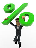3d man jumping with big green percent symbol concept Royalty Free Stock Images