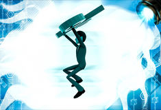 3d man jumping with big green percent symbol illustration Stock Photo