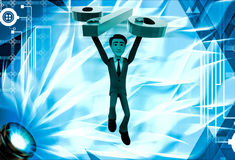3d man jumping with big green percent symbol illustration Stock Photography