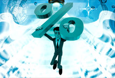 3d man jumping with big green percent symbol illustration Stock Image