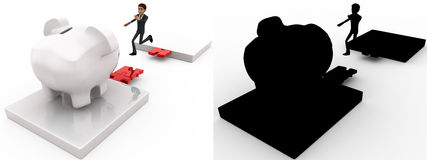 3d man jumping and crossing gap to reach to big piggybank concept collections with alpha and shadow channel Royalty Free Stock Image