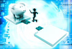 3d man jumping and crossing gap to reach to big piggybank illustration Royalty Free Stock Images