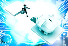 3d man jumping and crossing gap to reach to big piggybank illustration Royalty Free Stock Photography