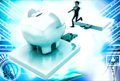 3d man jumping and crossing gap to reach to big piggybank illustration Stock Photo