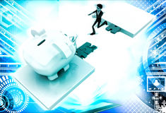 3d man jumping and crossing gap to reach to big piggybank illustration Stock Image