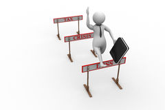3d man jumping over a hurdle obstacle titled tax, crisis, loss Royalty Free Stock Image