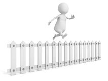 3d man jumping over white wooden fence. 3d render illustration Stock Photo