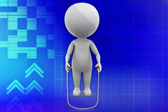 3D man jumping rope illustration Royalty Free Stock Image