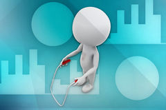 3D man jumping rope illustration Stock Image