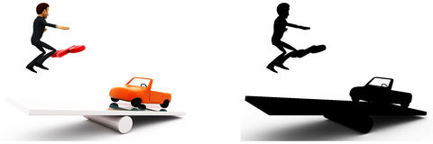 3d man jumping on seesaw with car and percentage symbol on it concept collections with alpha and shadow channel Stock Images