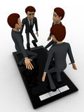 3d man jumping in touch screen tablet phone concept Royalty Free Stock Images