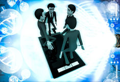 3d man jumping in touch screen tablet phone illustration Royalty Free Stock Photo