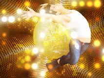 Jumping man on dotted disco background Royalty Free Stock Images
