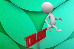 3d man jumps over talent illustration Stock Image