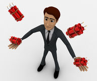 3d man junggling TNT bomb  and playing concept Stock Photography