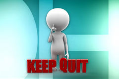 3d man keep quit illustration Royalty Free Stock Photography