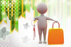 3d man with key and lock  illustration Royalty Free Stock Photography