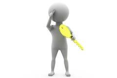 3d man key problem concept Stock Image