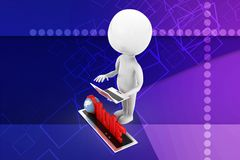 3d man with keyboard and globe illustratration Stock Image
