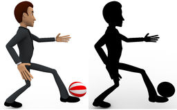 3d man kicking ball concept collections with alpha and shadow channel Stock Photos