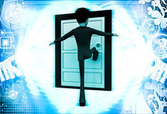 3d man kicking door illustration Royalty Free Stock Photography