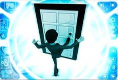 3d man kicking door illustration Stock Photos