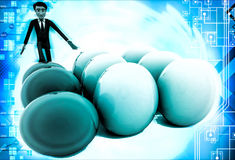 3d man kicking eggs and eggs are falling illustration Royalty Free Stock Photos