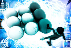 3d man kicking eggs and eggs are falling illustration Stock Photos