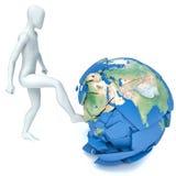 3d man kicks the planet.  Stock Image