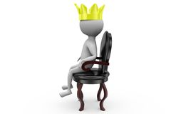 3d man king on the throne concept Stock Photography