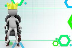 3d man king on the throne illustration Royalty Free Stock Photo