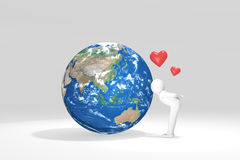 3D man kisses Earth - Asia Oceania Edition.  Royalty Free Stock Image
