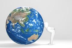 3D man kisses Earth - Asia Oceania Edition.  Stock Photos