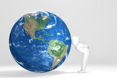 3D man kisses Earth - South und north America Edition Royalty Free Stock Photography