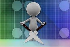 3D man knife cross Stock Images